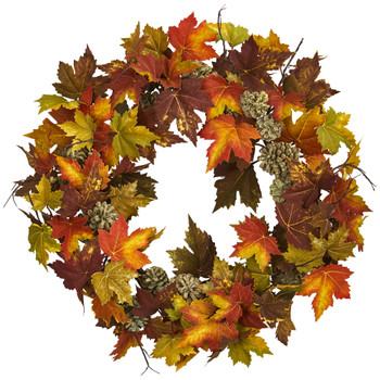 24 Maple Pine Cone Wreath - SKU #4150