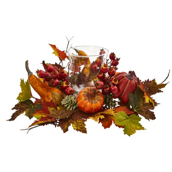Pumpkin Gourd Berry and Maple Leaf Artificial Arrangement Candelabrum - SKU #4155