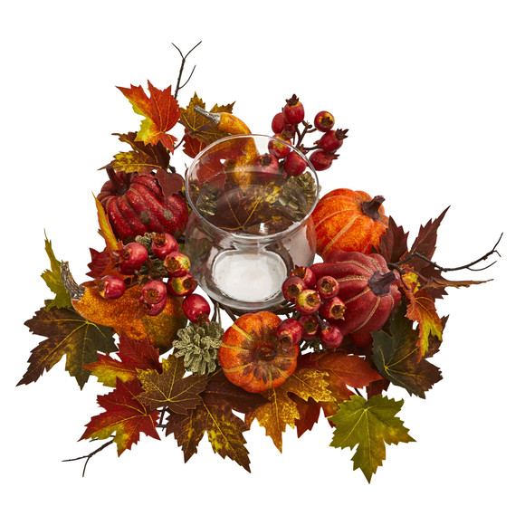Pumpkin Gourd Berry and Maple Leaf Artificial Arrangement Candelabrum - SKU #4155 - 1