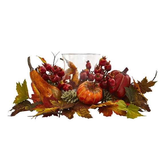Pumpkin Gourd Berry and Maple Leaf Artificial Arrangement Candelabrum - SKU #4155 - 2