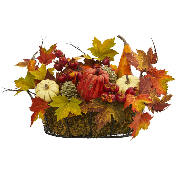 Pumpkin Gourd Berry and Maple Leaf Artificial Arrangement - SKU #4161