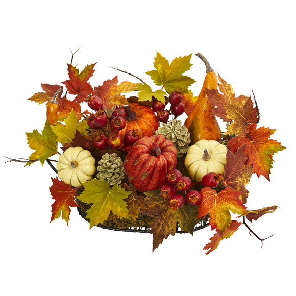 Pumpkin Gourd Berry and Maple Leaf Artificial Arrangement - SKU #4161 - 1