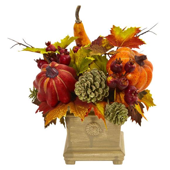 Pumpkin Gourd Berry and Maple Leaf Artificial Arrangement - SKU #4162