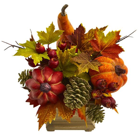 Pumpkin Gourd Berry and Maple Leaf Artificial Arrangement - SKU #4162 - 1