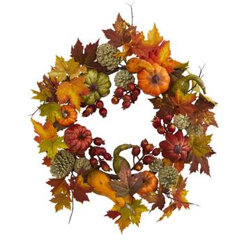24 Pumpkin Gourd Berry and Maple Leaf Wreath - SKU #4163