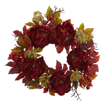 24 Peony Sedum Wreath - SKU #4171