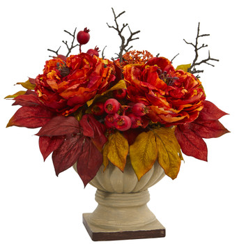 15 Peony and Sedum Artificial Arrangement - SKU #4174