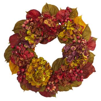 24 Fall Hydrangea Wreath - SKU #4176