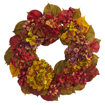 24 Fall Hydrangea Wreath - SKU #4176
