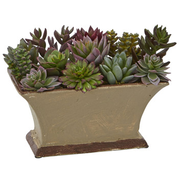 Mixed Succulent Artificial Plant in Vase - SKU #4179