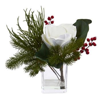 Magnolia Berries Artificial Arrangement in Vase - SKU #4184