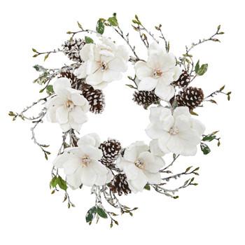 24 Snowed Magnolia / Pine Cone Wreath - SKU #4185