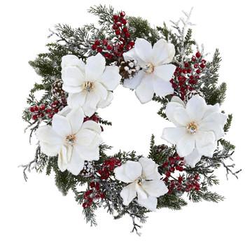 22 Snowed Magnolia Berry Wreath - SKU #4186