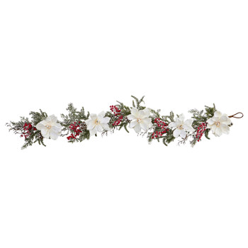 60 Frosted Magnolia Berry Artificial Garland - SKU #4187