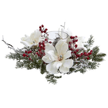 Frosted Magnolia Berry Artificial Arrangement Candelabrum - SKU #4188