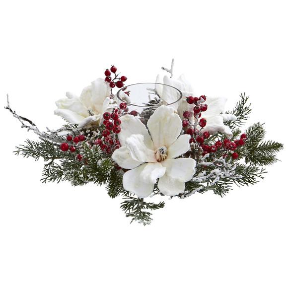 Frosted Magnolia Berry Artificial Arrangement Candelabrum - SKU #4188