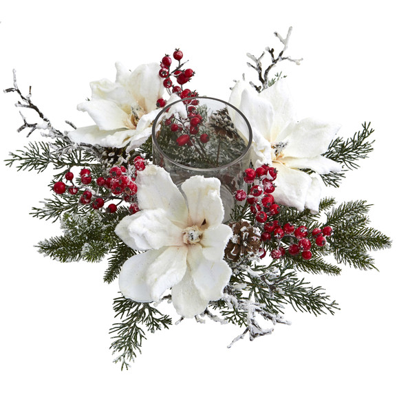 Frosted Magnolia Berry Artificial Arrangement Candelabrum - SKU #4188 - 1