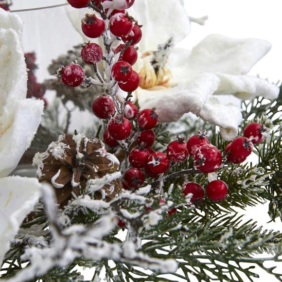 Frosted Magnolia Berry Artificial Arrangement Candelabrum - SKU #4188 - 2