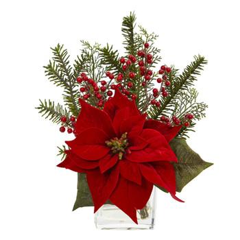 Poinsettia Pine and Berries in Vase Artificial Arrangement - SKU #4189