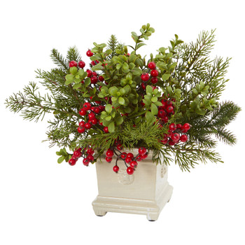 Holiday Berry and Pine Artificial Arrangement - SKU #4194