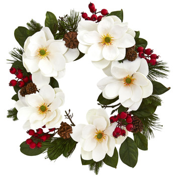 26 Magnolia Pine and Berries Wreath - SKU #4195