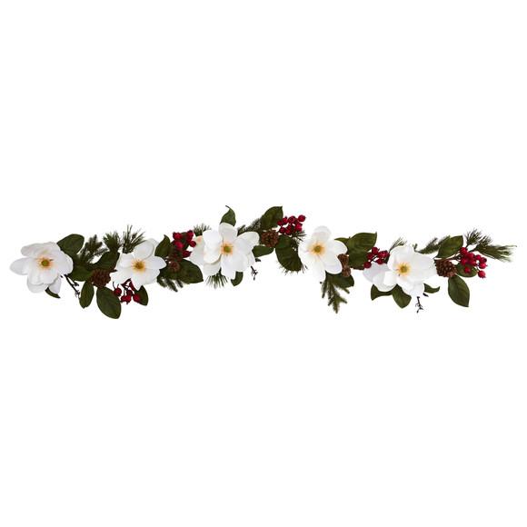 6 Magnolia Pine and Berries Artificial Garland - SKU #4196