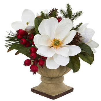 15 Magnolia Pine and Berries Artificial Arrangement - SKU #4197
