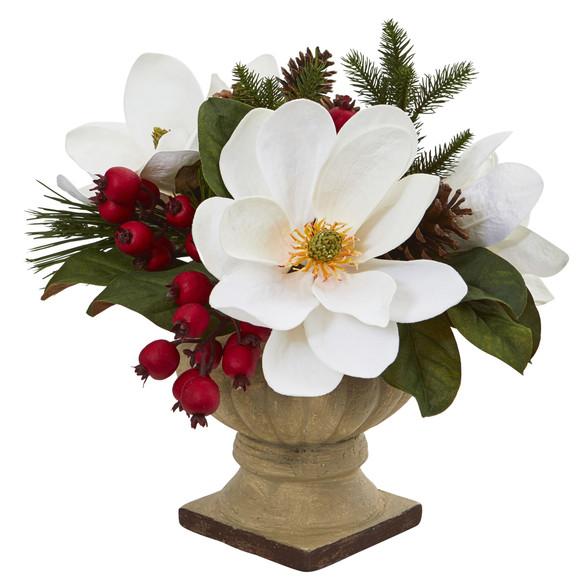 15 Magnolia Pine and Berries Artificial Arrangement - SKU #4197