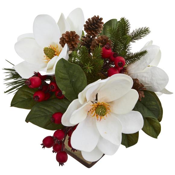 15 Magnolia Pine and Berries Artificial Arrangement - SKU #4197 - 1