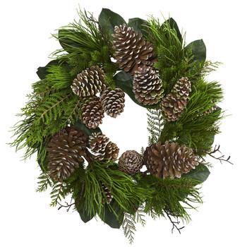 28 Pine Cone and Pine Wreath - SKU #4198