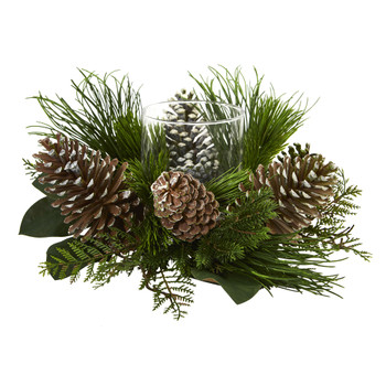 21 Pine Cone and Pine Artificial Arrangement Candelabrum - SKU #4200
