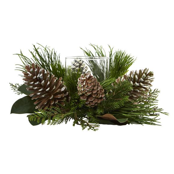 21 Pine Cone and Pine Artificial Arrangement Candelabrum - SKU #4200 - 2