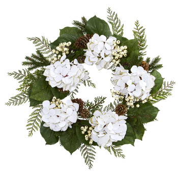 24 Gold Trimmed Hydrangea and Berry Wreath - SKU #4201