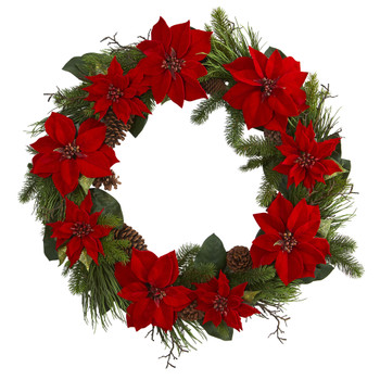 36 Poinsettia and Pine Wreath - SKU #4202