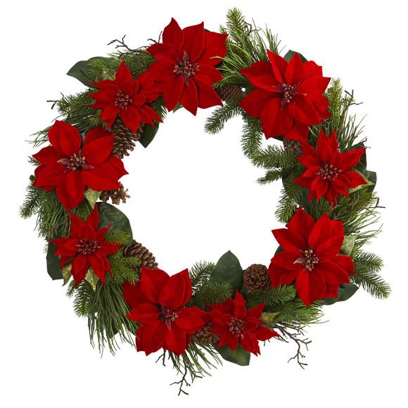 36 Poinsettia and Pine Wreath - SKU #4202