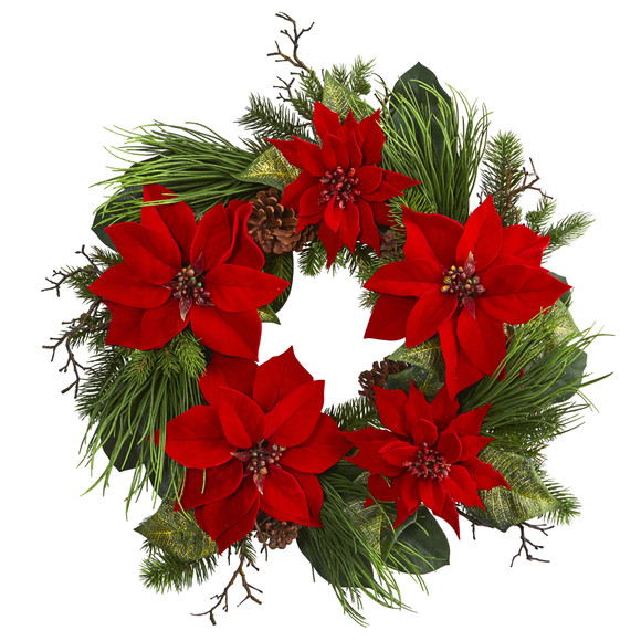 28 Poinsettia and Pine Wreath - SKU #4203