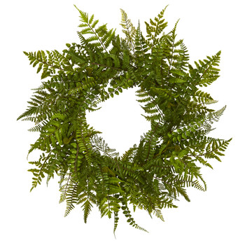 24 Mixed Fern Wreath - SKU #4205