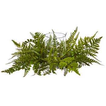 Mixed Fern Artificial Arrangement Candelabrum - SKU #4206