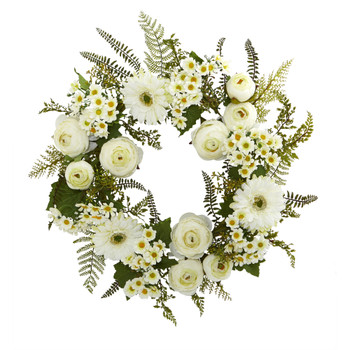 24 Mixed Daisys and Ranunculus Wreath - SKU #4210