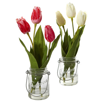Tulip Artificial Arrangement in Jar set of 2 - SKU #4211-S2