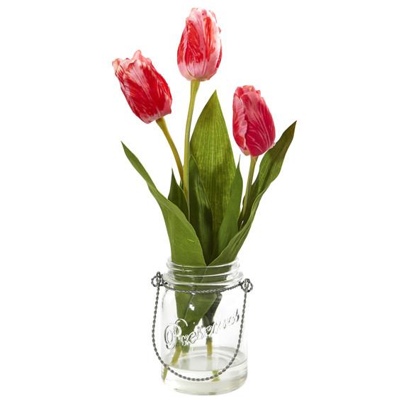 Tulip Artificial Arrangement in Jar set of 2 - SKU #4211-S2 - 2