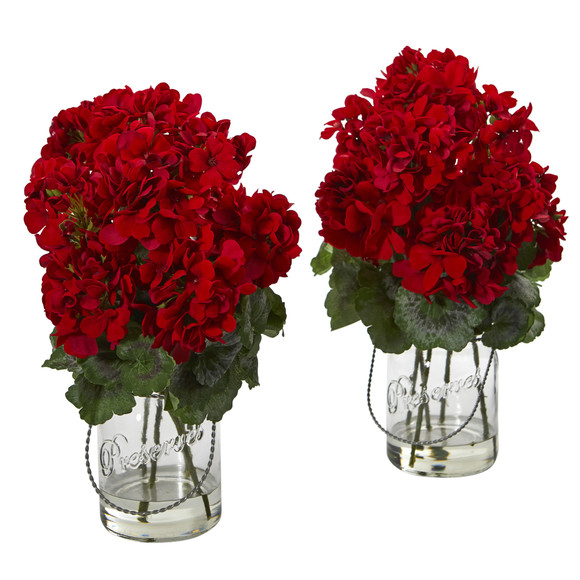 Geranium Artificial Arrangement Set of 2 - SKU #4212-S2