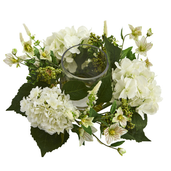 Hydrangea Artificial Arrangement Candelabrum - SKU #4214