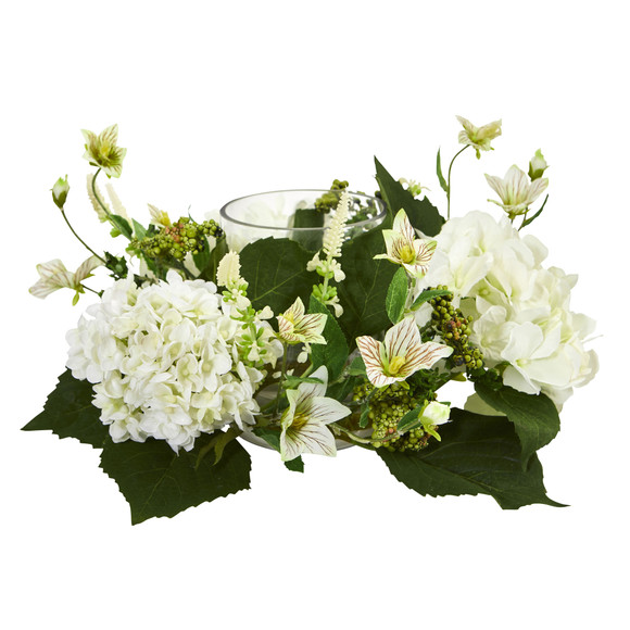 Hydrangea Artificial Arrangement Candelabrum - SKU #4214 - 1