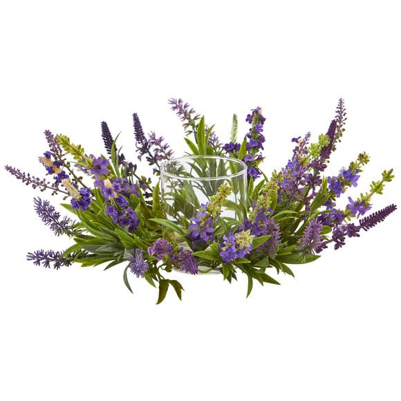 Lavender Artificial Arrangement Candelabrum - SKU #4216