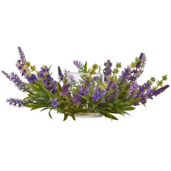 Lavender Artificial Arrangement Candelabrum - SKU #4216 - 2
