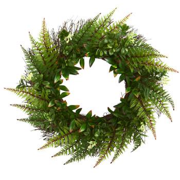 23 Assorted Fern Wreath UV Resistant Indoor/Outdoor - SKU #4234