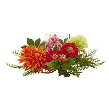 17 Mixed Floral Dahlia Candelabrum - SKU #4237