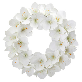 24 Amaryllis Artificial Wreath - SKU #4257