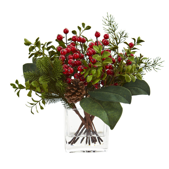 Berry Pine and Boxwood Artificial Arrangement - SKU #4260
